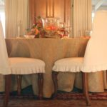 burlap tablecloth and dining chair slipcovers