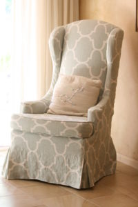 slipcover with waterfall skirt