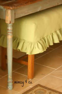 ruffled bench slipcover