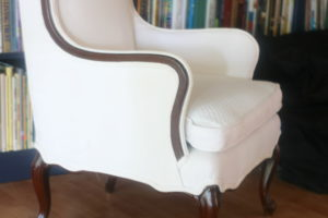 wing chair with double welt