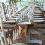 farmhouse tables set for Thanksgiving