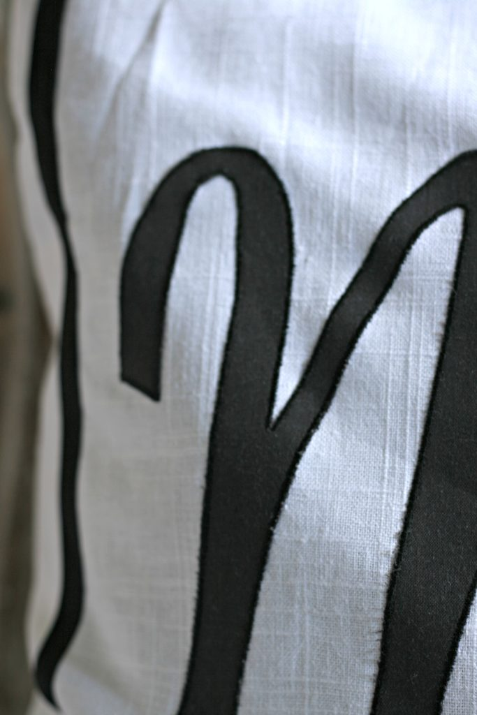 applique monogram pillow