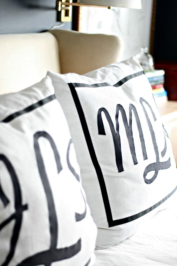 monogrammed applique pillows
