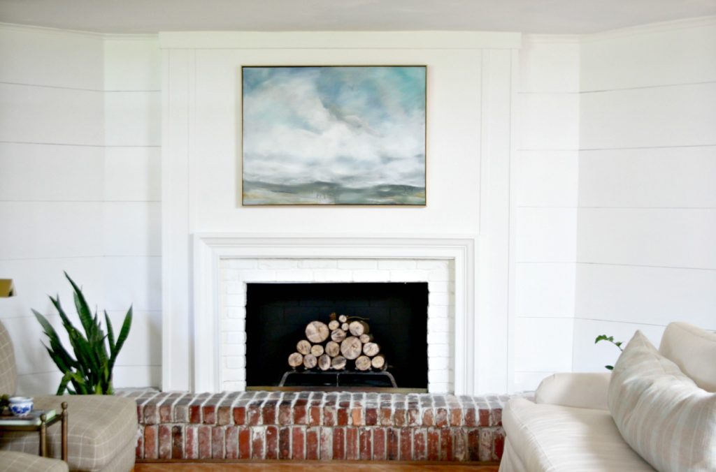 How i refaced my 1970 39 s brick fireplace easily and - How to reface a brick fireplace ...